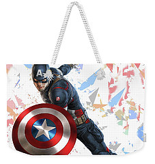 Weekender Tote Bag featuring the mixed media Captain America Splash Super Hero Series by Movie Poster Prints
