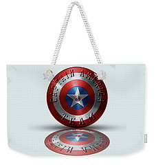 Captain America Team Typography On Captain America Shield  Weekender Tote Bag by Georgeta Blanaru