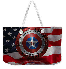 Captain America Typography On Captain America Shield  Weekender Tote Bag by Georgeta Blanaru