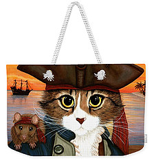 Weekender Tote Bag featuring the painting Captain Leo - Pirate Cat And Rat by Carrie Hawks