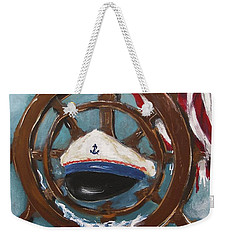 Weekender Tote Bag featuring the painting Captain's Home by Miroslaw  Chelchowski