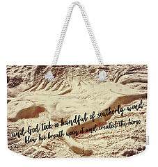 Captured In The Sand Quote Weekender Tote Bag