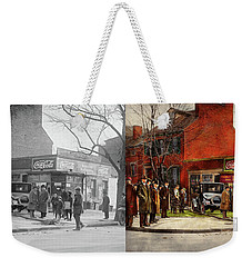 Weekender Tote Bag featuring the photograph Car - Accident - Looking Out For Number One 1921 - Side By Side by Mike Savad