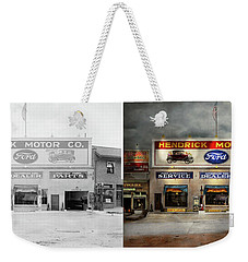 Weekender Tote Bag featuring the photograph Car - Garage - Hendricks Motor Co 1928 - Side By Side by Mike Savad