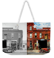 Weekender Tote Bag featuring the photograph Car - Garage - Misfit Garage 1922 - Side By Side by Mike Savad