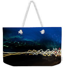 Car Light Trails At Dusk In City Weekender Tote Bag