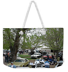 Weekender Tote Bag featuring the photograph Car Show In Deming N M by Jack Pumphrey