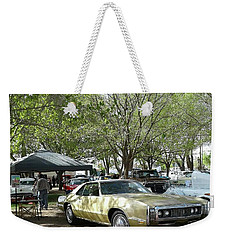 Weekender Tote Bag featuring the pyrography Car Show Saturday by Jack Pumphrey