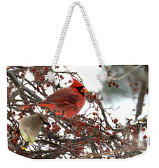 Cardinal And Cedar Wax Wing Feeding On Crab Apples Weekender Tote Bag