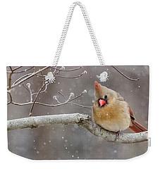 Cardinal And Falling Snow Weekender Tote Bag