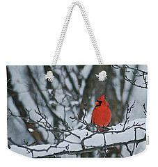 Cardinal And Snow Weekender Tote Bag by Michael Peychich