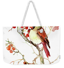 Cardinal Bird And Berries Weekender Tote Bag by Suren Nersisyan