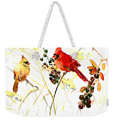 Cardinal Birds And Berries Weekender Tote Bag by Suren Nersisyan