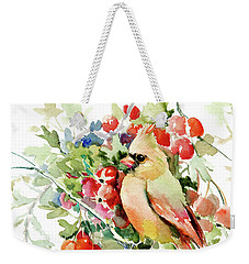Cardinal Birds And Hawthorn Weekender Tote Bag by Suren Nersisyan