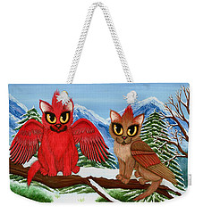 Weekender Tote Bag featuring the painting Cardinal Cats by Carrie Hawks