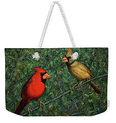 Cardinal Couple Weekender Tote Bag