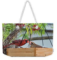 Cardinal Feeding  Weekender Tote Bag