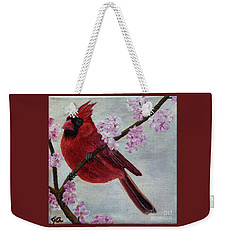 Cardinal In Cherry Blossoms Weekender Tote Bag