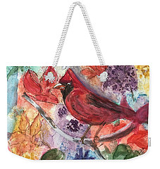 Cardinal In Flowers Weekender Tote Bag