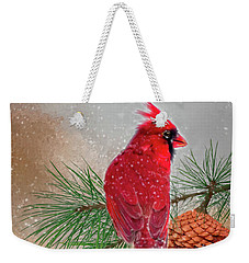 Cardinal In Snow Weekender Tote Bag by Mary Timman