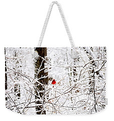 Cardinal In The Snow Weekender Tote Bag