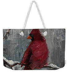 Cardinal North Carolina State Bird In Snow Weekender Tote Bag