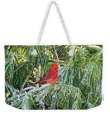 Cardinal On Ice Weekender Tote Bag