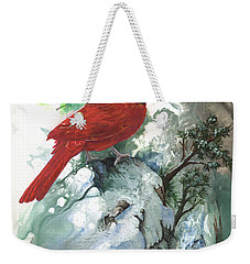 Weekender Tote Bag featuring the painting Cardinal by Sherry Shipley
