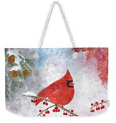 Cardinal With Red Berries And Pine Cones Weekender Tote Bag