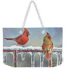 Cardinals And Icicles Weekender Tote Bag by Janette Boyd