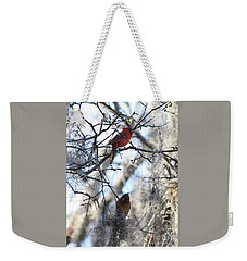 Cardinals In Mossy Tree Weekender Tote Bag