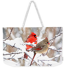 Cardinals In The Winter Weekender Tote Bag