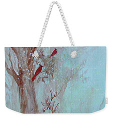 Weekender Tote Bag featuring the painting Cardinals In Trees Whilst Snowing by Robin Maria Pedrero