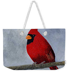 Weekender Tote Bag featuring the painting Cardnial by Tracey Goodwin