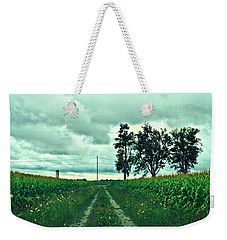 Weekender Tote Bag featuring the photograph Caressing The Corn Path by Cyryn Fyrcyd