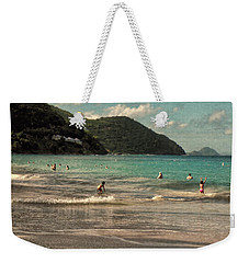 Weekender Tote Bag featuring the photograph Caribbean Beach Scenic In Grunge by Rosalie Scanlon