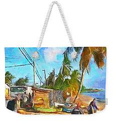 Caribbean Scenes - Beach Village Weekender Tote Bag by Wayne Pascall