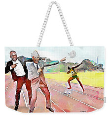 Caribbean Scenes - Obama And Bolt In Jamaica Weekender Tote Bag