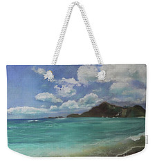 Weekender Tote Bag featuring the pastel Caribbean Sea Day Antigua by Robin Maria Pedrero