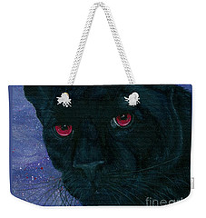 Weekender Tote Bag featuring the painting Carmilla - Black Panther Vampire by Carrie Hawks