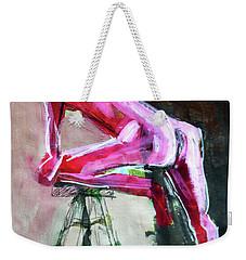 Weekender Tote Bag featuring the painting Carmine Figure No. 3 by Nancy Merkle