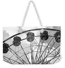 Weekender Tote Bag featuring the photograph Carnival Ferris Wheel Black And White Print - Carnival Rides Ferris Wheel Black And White Art Prints by Kathy Fornal