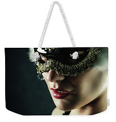 Weekender Tote Bag featuring the photograph Carnival Mask Closeup Girl Portrait by Dimitar Hristov