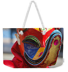 Carnival Red Duck Portrait Weekender Tote Bag by Heather Kirk