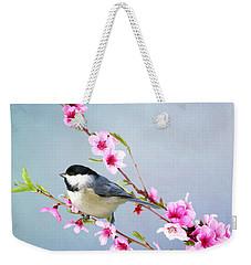 Carolina Chickadee And Peach Blossoms Weekender Tote Bag