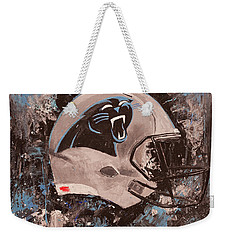 Carolina Panthers Football Helmet Painting Wall Art Weekender Tote Bag
