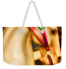 Weekender Tote Bag featuring the photograph Carousel Colors by Mel Steinhauer