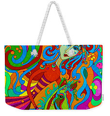Weekender Tote Bag featuring the painting Carousel Dance 2016 by Alison Caltrider
