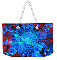 Weekender Tote Bag featuring the digital art Blue And Red Mandala by Fine Art By Andrew David