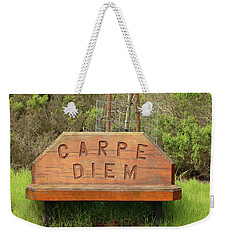 Weekender Tote Bag featuring the photograph Carpe Diem Bench by Art Block Collections